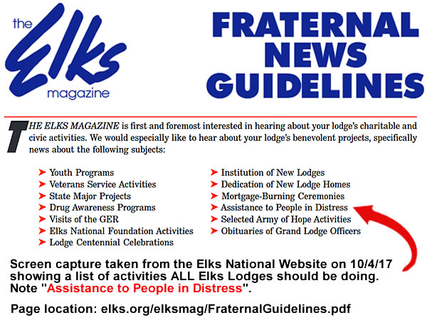 elks lodge guidlines